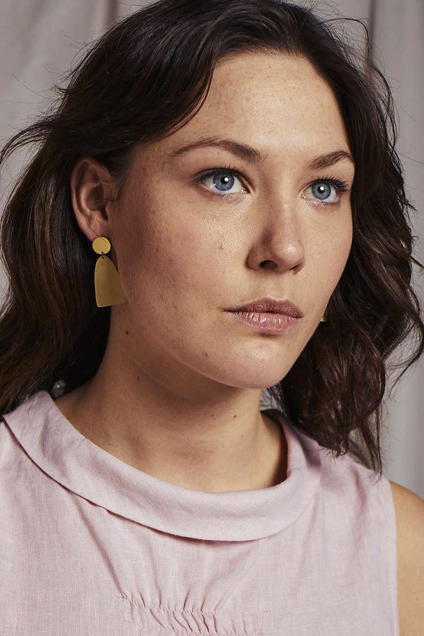 Zora Brass Drop Stud Earrings
