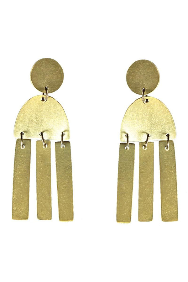 Fringe Gold Brass Statement Studs
