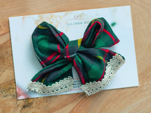 Green Plaid Bow