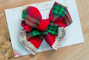 Red Plaid Christmas Bow