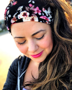 Black Velvet Floral Head Wrap