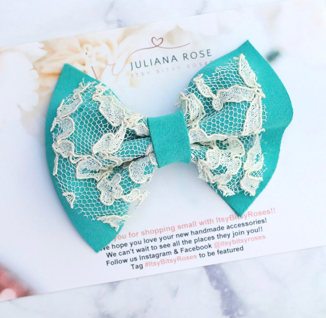 Turquoise Lace Leather Bow