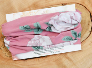 Dusty Rose Floral Headwrap
