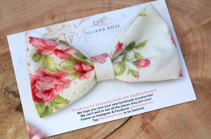 Ivory Floral Bow