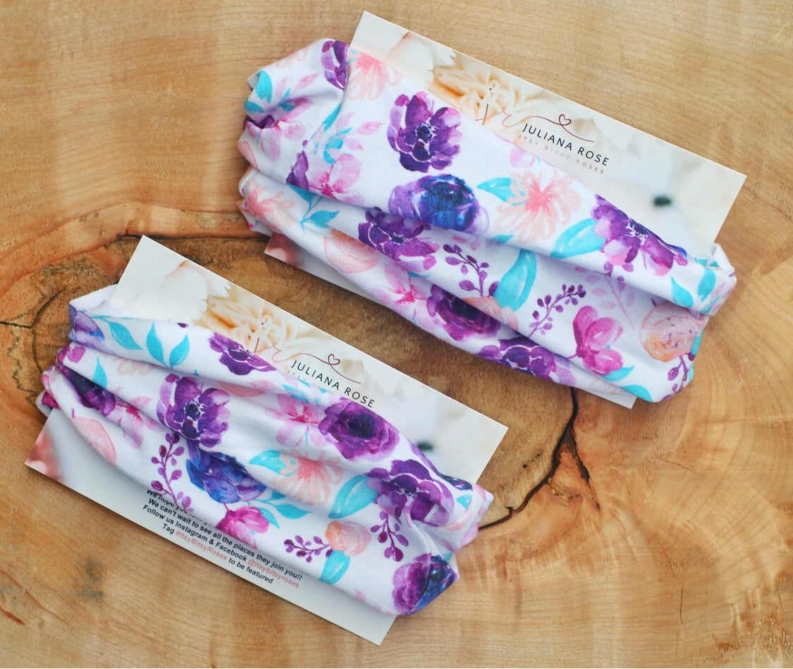 Purple Floral Headwraps