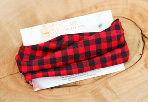 Buffalo Plaid Black and Red Headwrap