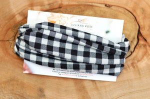 Buffalo Plaid Black and White Headwrap