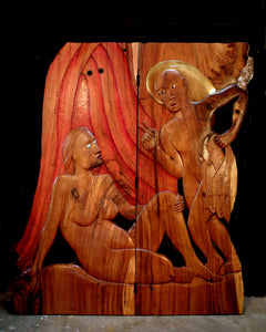 Suar Screen, Trungpa's teaching. Low relief wood carving
