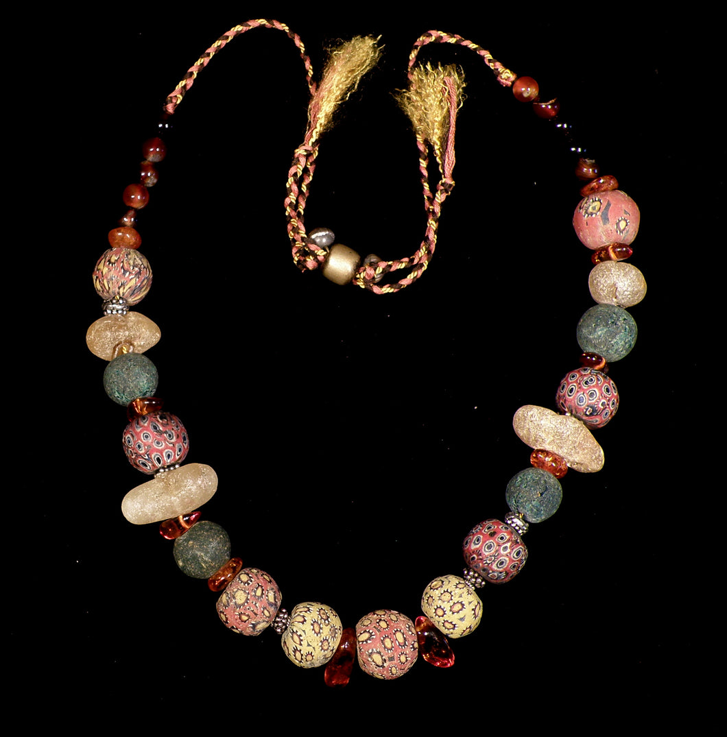 27 Amber and mosaic bead necklace