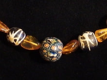 Load image into Gallery viewer, 02 Amber and Mosaic bead necklace