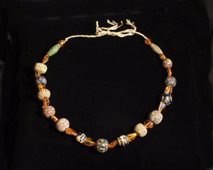 02 Amber and Mosaic bead necklace