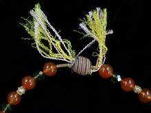 Load image into Gallery viewer, 39 Carnelian, green crystal and Balinese gold necklace.