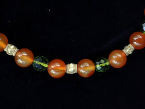 39 Carnelian, green crystal and Balinese gold necklace.