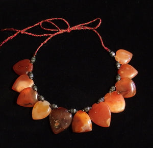 104 Carnelian Heart bead necklace