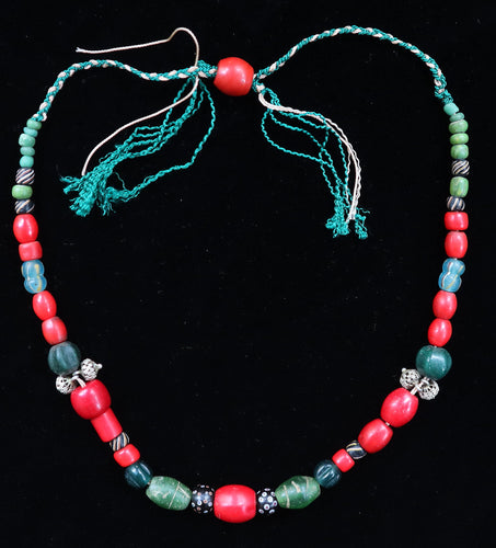 40 Chinese glass 'coral' beads with other trade beads
