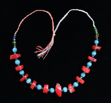 Load image into Gallery viewer, 41  Red coral with Ming period blue beads and faceted green crystal