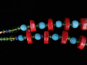 41  Red coral with Ming period blue beads and faceted green crystal