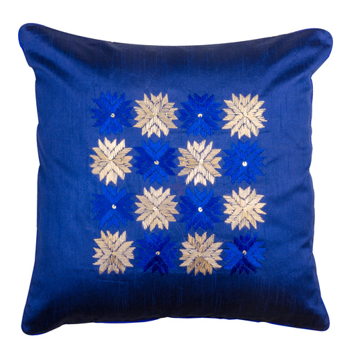 Phulkari Blue &  Ivory Throw Pillow Cover