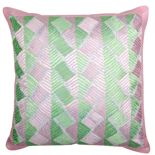 Phulkari Pink & Mint Green Decorative Throw Pillow Cover