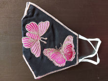 Load image into Gallery viewer, Butterfly Embroidered Black Cotton Face Mask
