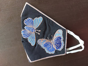 Butterfly Embroidered Black Cotton Face Mask