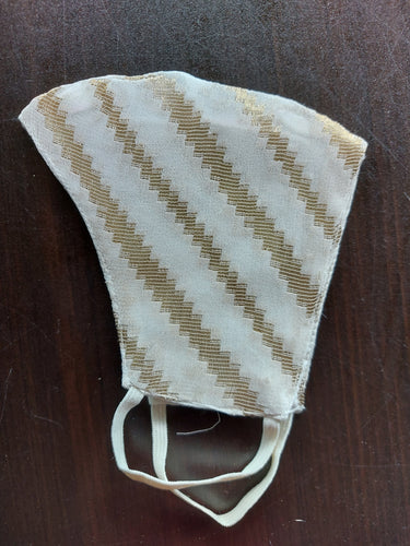 White and Gold Chevron Stripes Cotton Face Mask
