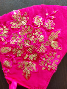 Fuchsia Pink Sequined Breathable Cotton Face Mask