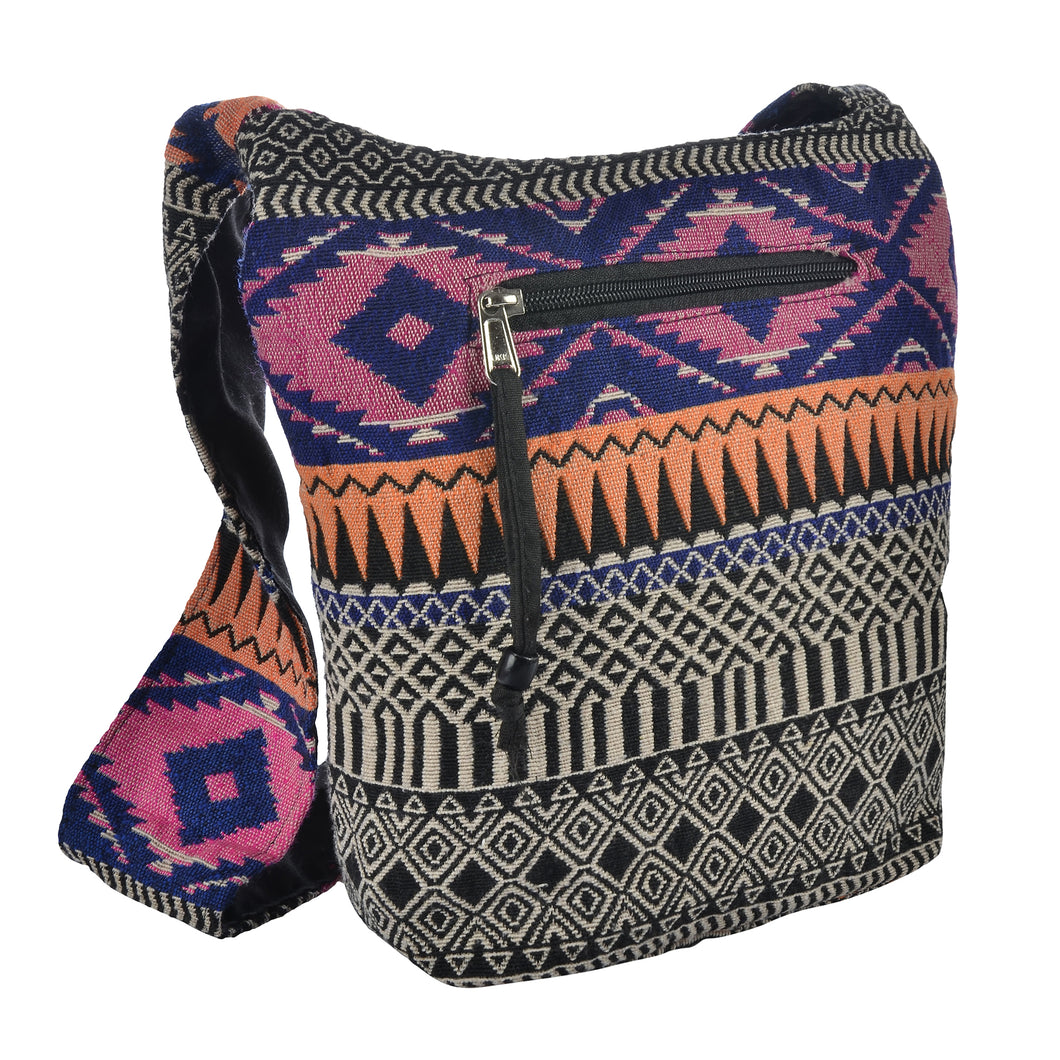 The Boho Style Ballona Messenger Bag - Pink/Blue