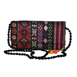 The Mohali Clutch Boho Purse - Red/Black
