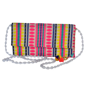 The Mohali Clutch purse - Pink/Yellow