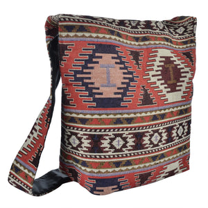 The Kajri Boho Style Messenger Bag - Red/White