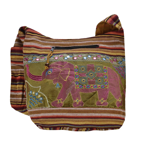 The Boho Style Hathi Messenger Bag - Green/Pink