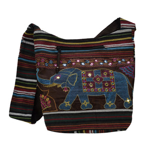 The Boho Style Hathi Messenger Bag - Brown/Blue