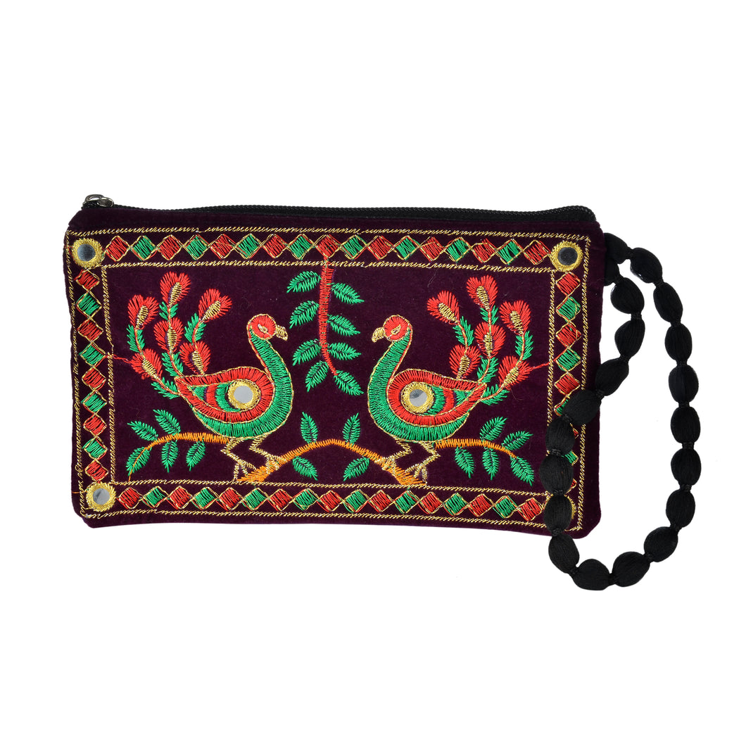 The Jhumka Wristlet - Green/Red Peacock
