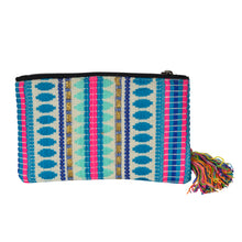 Load image into Gallery viewer, The Bhaloo Clutch Boho Purse - Blue/White/Pink