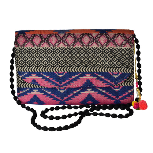 The Sheera Purse - Pink/Dark Blue