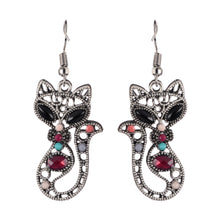 Load image into Gallery viewer, Cat Dangle Boho Earrings - Silver Beaded