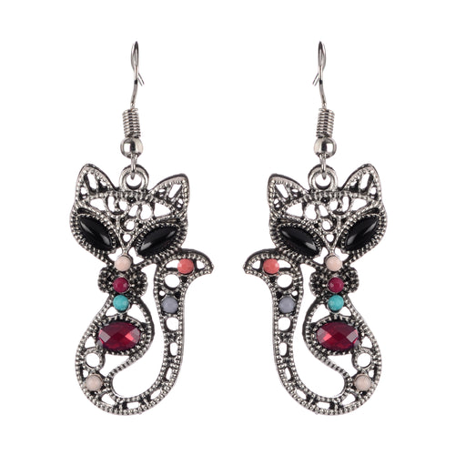Cat Dangle Boho Earrings - Silver Beaded