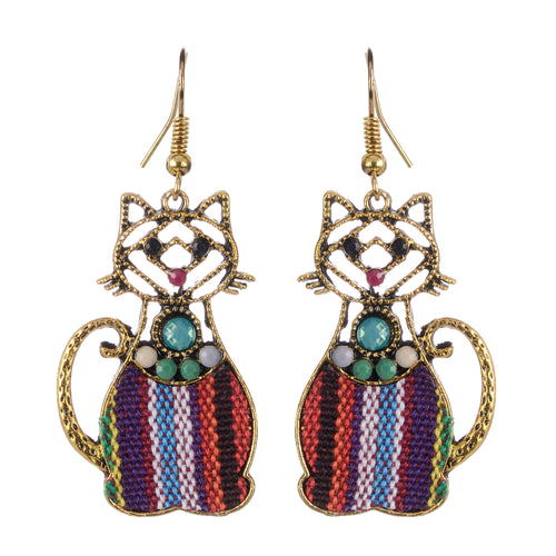 Cat gold Dangle Boho Earrings For Women