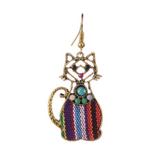 Load image into Gallery viewer, Cat gold Dangle Boho Earrings