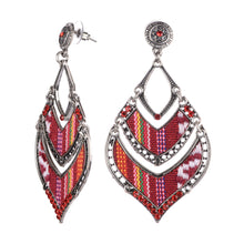Load image into Gallery viewer, Red Boho Beaded Fabric Inlaid Earrings