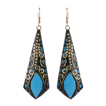 Load image into Gallery viewer, Blue Statement Dangle Earrings For Women