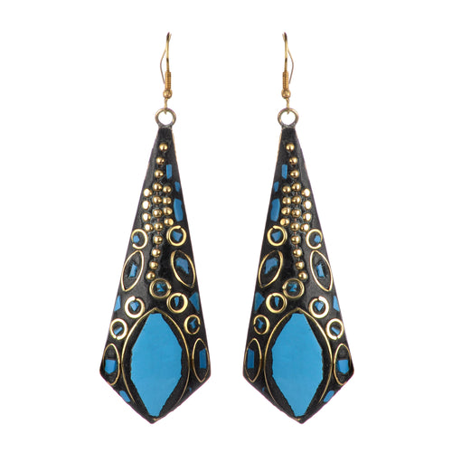 Blue Statement Dangle Earrings For Women