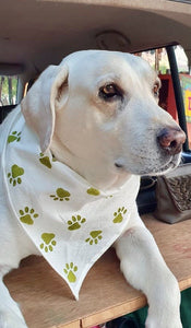White Handmade Block Printed Dog Bandana | 20% goes to stray dogs in India