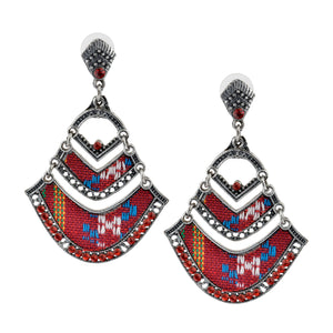 Bohemian Beaded Woven Fabric Red Fashion Earrings