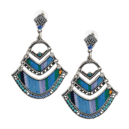 Bohemian Beaded Woven Fabric Blue Fashion Earrings For Women