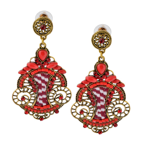 Bohemian Beaded Woven Fabric Red Fashion Earrings For Women