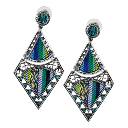 Bohemian Beaded Woven Fabric Blue Earrings For Women