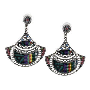 Bohemian Beaded Woven Fabric Earrings