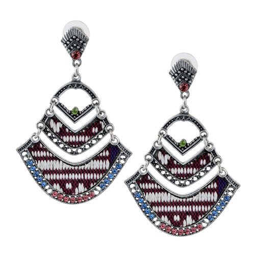 Bohemian Beaded Woven Fabric Maroon Earrings For Women